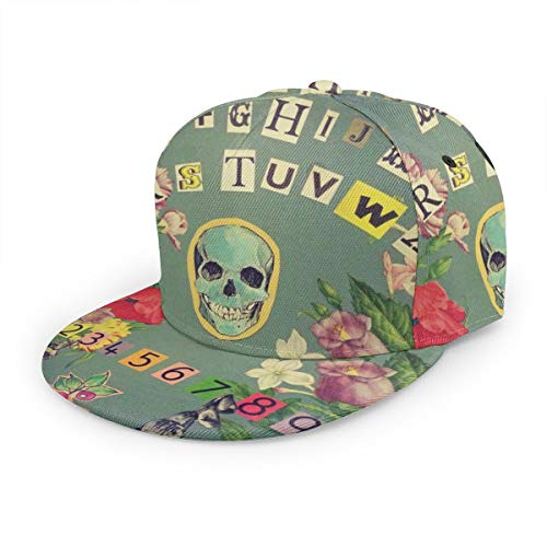 Bettiboy Ouija Board, Totenkopf, Bunte Snapback-Mütze, für Herren und Damen, einteilig, flach, Hip Hop, Jugend Visierhut, Schwarz