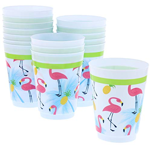 16 Pack Herbruikbare plastic partij bekers Flamingo