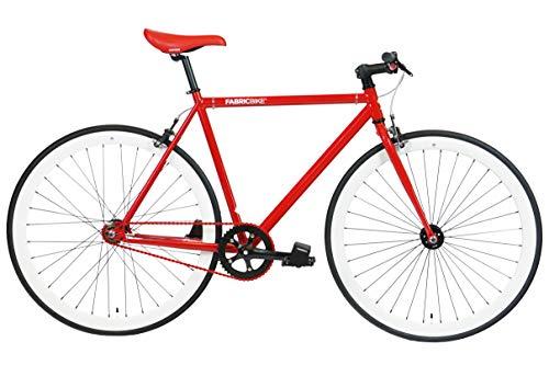 FabricBike- Bicicleta Fixie, piñon Fijo, Single Speed, Cuadro Hi-Ten Acero, 10,45 kg. (Talla M) (M-53cm, Red & White)