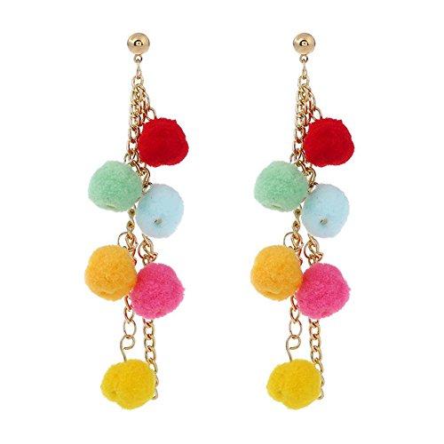 nikgic Fashion Sweet personalizada Pompon pendientes accesorios para niñas y mujer Simple temperamento pendientes Colorful