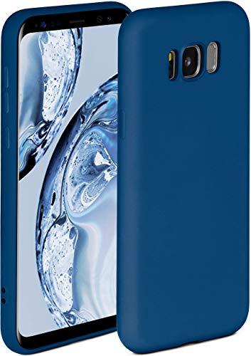 ONEFLOW Soft Hülle kompatibel mit Samsung Galaxy S8 Hülle aus Silikon, erhöhte Kante für Displayschutz, zweilagig, weiche Handyhülle - matt Blau