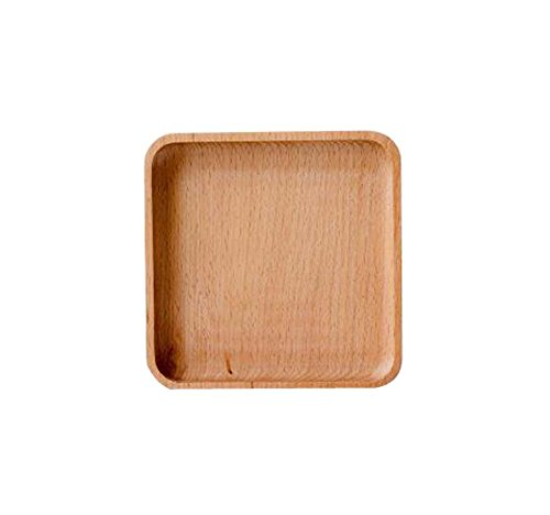 Petit Assiette à dessert en bois Plateaux de fruits secs pour la vie, 13x13cm / 5.1x5.1 pouces