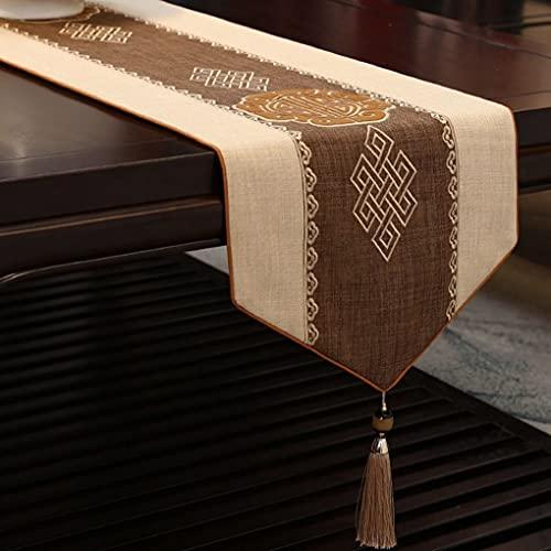 XINXIN Camino de Mesa Chino Zen Mesa de té Tela Tira Larga Mesa de té Mesa de café Bandera de té Mantel de té Moderno (Color : D, Size : 35 * 170cm)