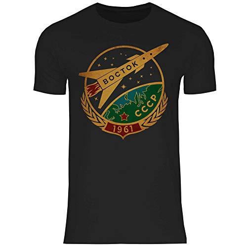 wowshirt Camiseta Vintage Espacial soviética CCCP del Cartel Astronauta Rusia para Hombre, Tamaño:XXL, Color:9 Black
