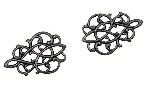 Hartmann-Knöpfe 4 Stück Elegante Miederhaken Miederösen Silber Dirndl Mieder flach und leicht aus Metall zum Annähen Größe ca. 30mmx20mm