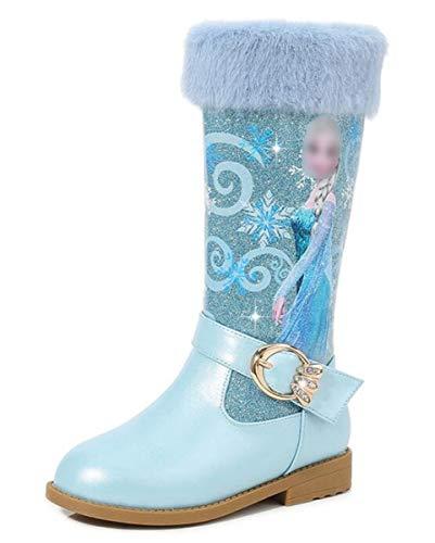 LCXYYY Prinzessin Mädchen Schneestiefel Kinder Elsa Eiskönigin Schuhe Kostüm Zubehör Hohe Stiefel Flach Winterstiefel mit Warm Gefüttert Futter Outdoor Glitzer Pailletten Festlich Karneval Geburtstag
