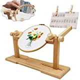 Upgraded Adjustable Embroidery Stand, Beech Wood Cross Stitch Floor Stand, 360 Degrees Rotated Embroidery Seat Frame Hoop Holder Stand for Hand Work and Needlepoint Craft