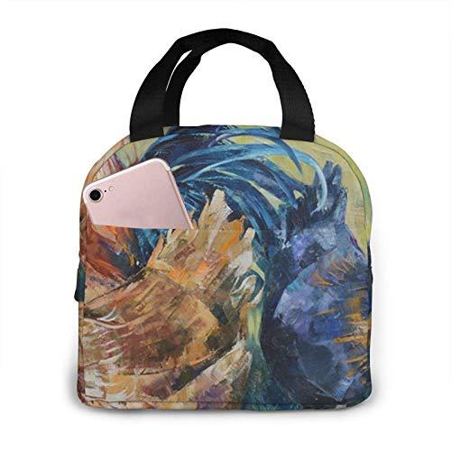 N\A Rooster Hen Oil Painting Bedruckte Lunch-Taschen Isolierte Lunchbox für Erwachsene für Frauen Erwachsene College-Arbeit Picknick Wandern Strand Angeln Wiederverwendbare Handtaschen-Taschen