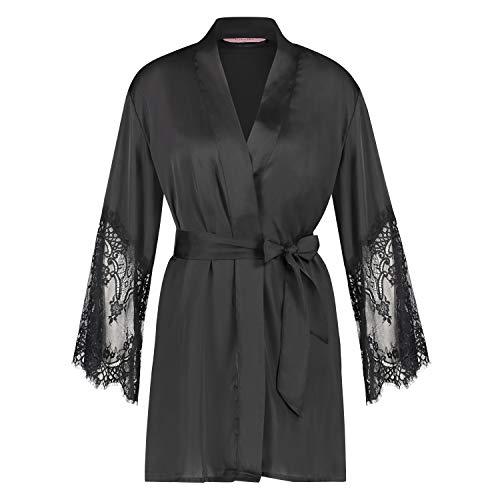 HUNKEMÖLLER Damen Kimono Lace Satin Schwarz XL/XXL
