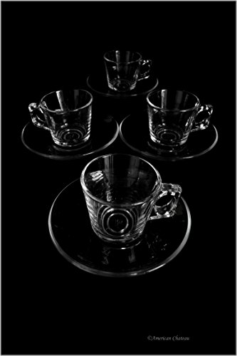 Set of 4 Clear Glass 2oz Demitasse Espresso Cups Glasses with Saucers (Gift Boxed)