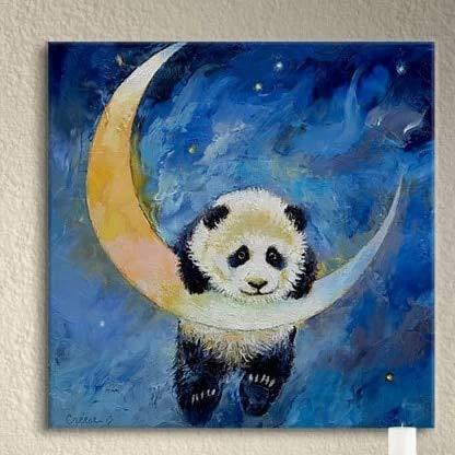 AJleil Puzzle 1000 Piezas Panda Lindo Animal Arte Imagen Luna Regalo Pintura Moderna Puzzle 1000 Piezas Juego de Habilidad para Toda la Familia, Colorido Juego de ubicación.50x75cm(20x30inch)