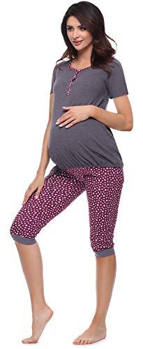 Be Mammy Damen Umstands Pyjama mit Stillfunktion BE20-246(Dunkelmelange/Sterne/Weinrot, XL)