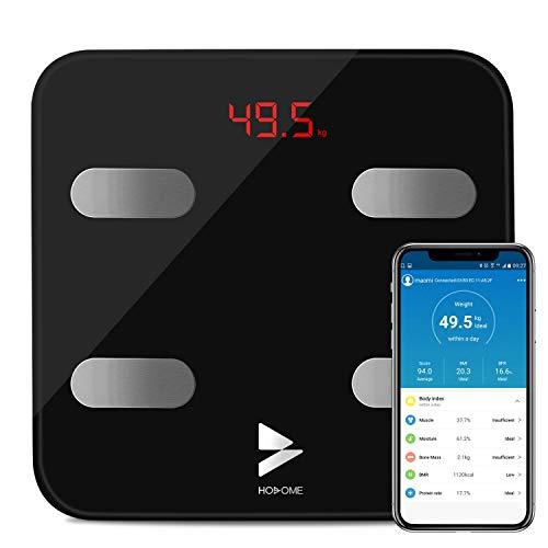 Bascula Baño Yuanguo Hosome Bascula Grasa Corporal Bascula Digital Peso para IOS y Android, 180 kg / 396 lb, hasta 17 Análisis de Composición Corporal incluso Peso Corporal, BMI, BMR