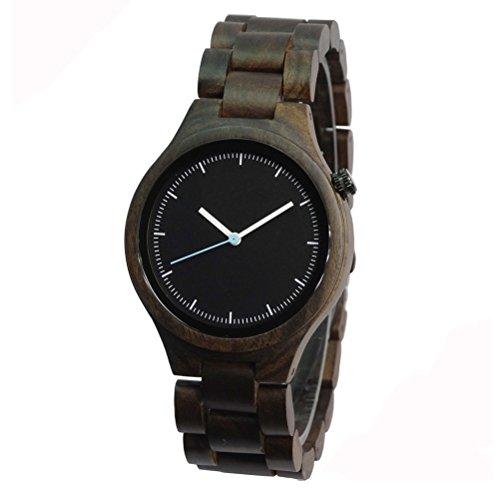 orologio da polso da uomo in legno con striscia per il tempo libero Nero
