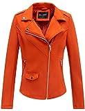 Bellivera Faux Suede Leather Jackets for Women, Moto Biker Short Coat with 2 Pockets 64K Orange XL