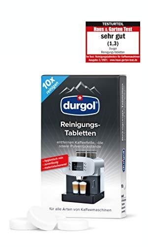 durgol Reinigungs-Tabletten – Reinigt, schützt und pflegt Kaffeemaschinen aller Typen und Marken – Biologisch abbaubar – Deutsche Version – 1 x 10 Tabletten