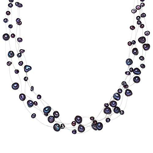 Valero Pearls Damen-Kette Hochwertige Süßwasser-Zuchtperlen in ca. 4-6 mm Barock blau 925 Sterling Silber 43 cm + 5 cm Verlängerung - Perlenkette Halskette mit echten Perlen dunkelblau 60201649