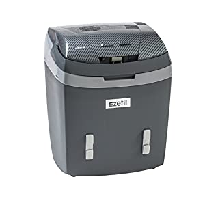 Ezetil 776676 Nevera portátil termoeléctrica 12/24/230V, AES & LCD, color gris oscuro/carbon