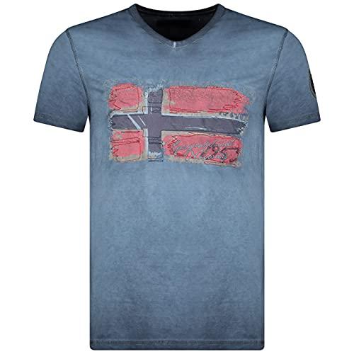 Geographical Norway JOASIS MEN - Maglietta Di Cotone Casual Da Uomo - Magliette Stampate In Stile Grafico Con Logo - Maniche Corte - Colletto A V - Vestibilità Classica Regolare Da Uomo Leggero