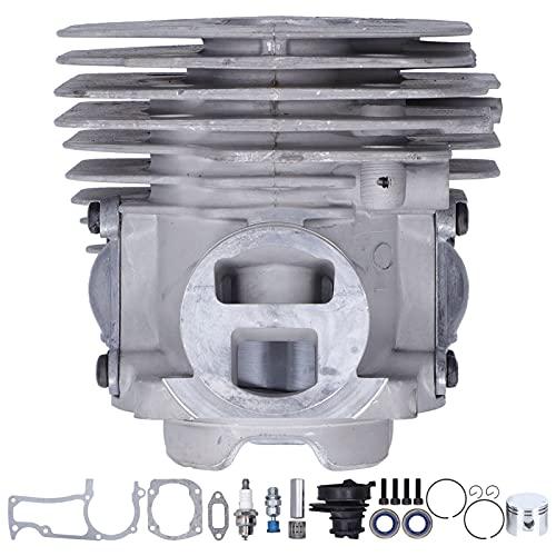Deror Kit de Cilindro de 50 mm Kit de Junta de admisión de pistón de Cilindro de aleación de Aluminio Apto para Motosierra Husqvarna 365 X-Torq 372XP X-Torq 372 XP