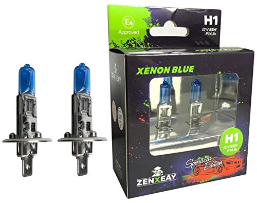 ZENXEAY H1 XENON BLUE Sportscar Edition, Halogen Leuchtmittel, 12V 55W, Xenon Optik, Super White Birne, 2 Stück