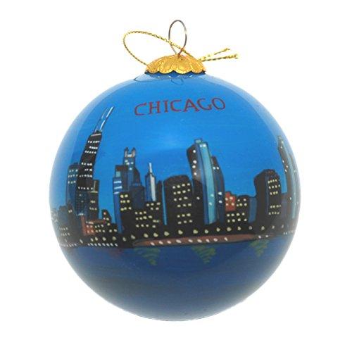 Hand Painted Glass Christmas Ornament - Chicago, Illinois Skyline Dusk