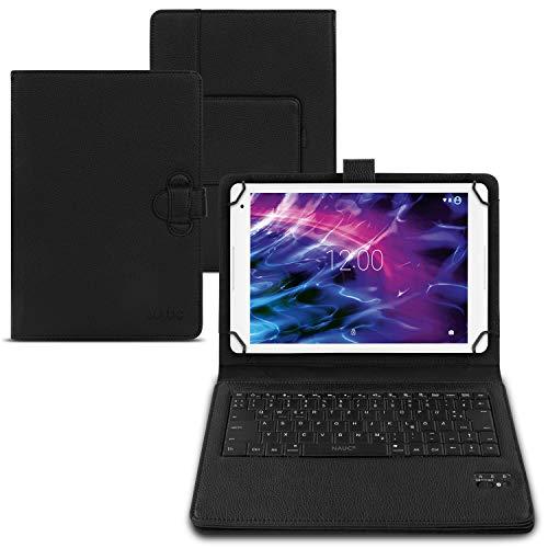 NAUC Bluetooth Keyboard Tasche Medion Lifetab P10612 P10610 P10603 E10604 E10412 P10606 P10602 X10605 X10607 X10311 P9702 X10302 P10400 P10506 Tablet Hülle deutsche QWERTZ Tastatur