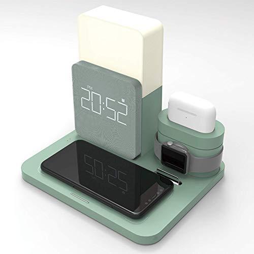 Gymqian Soporte de Carga, Portátil, Cargador Inalámbrico Qi Rápido con Reloj de Carga Iwatch, Verde Oscuro carga rápida/Light Green.