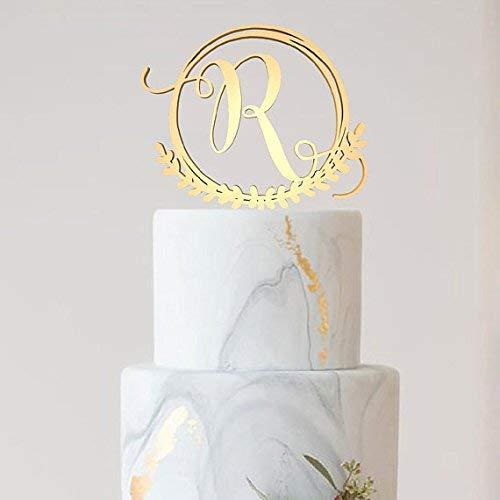 R Letter Monogram Personalized Custom Cake Topper