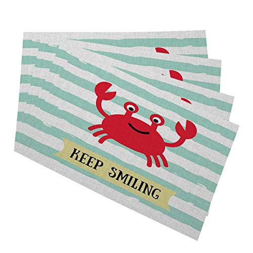 Mugod Red Crab Placemats Summer Vacation and Sea Travel Poster Cartoon Crab with Keep Smiling Decorative Heat Resistant Non-Slip Washable Place Mats for Kitchen Table Mats Set of 4 12x18