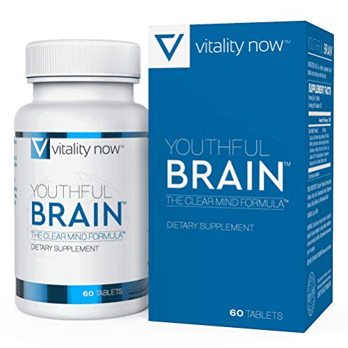 Youthful Brain   Memory & Brain Health Support Supplement - Doctor Formulated Brain Booster with Bacopa Monnieri, Ginkgo Biloba, B12 - Easy to Swallow Tablets - 30-Day Supply (60 Count)
