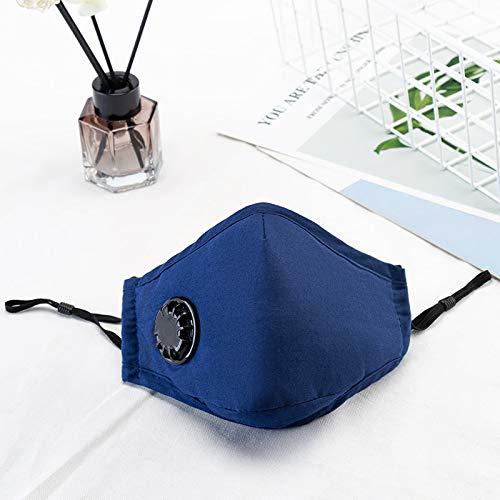 2 paquetes de PM máscaras de contaminación 2.5 de aire, lavable y reutilizable a prueba de polvo respirador máscara humo con correa-negro ajustable (Blau 2 Stück)