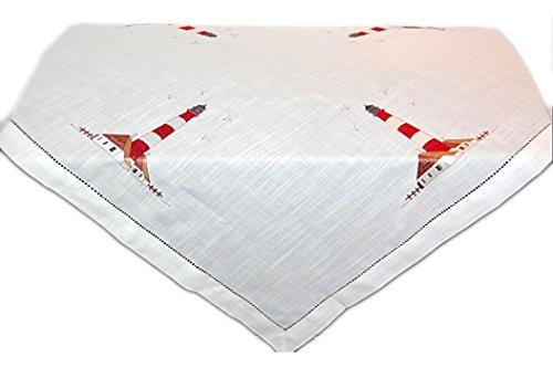 Tischdecken MARITIM Maritime TISCHDECKE 85x85 cm Mitteldecke weiß Leuchtturm rot braun gestickt mit Hohlsaum (Mitteldecke 85x85 cm quadratisch)