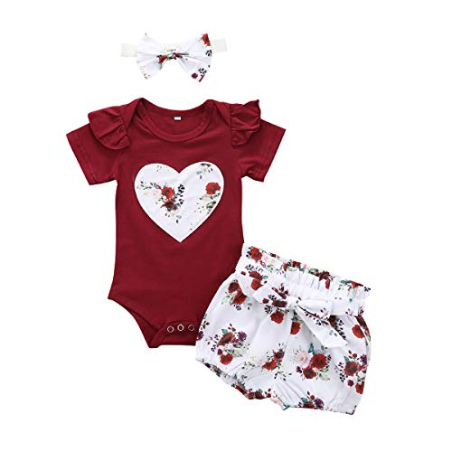 Bonfor 3 Pcs Ropa Bebe Niña 0-3 Meses Conjunto Verano Impresión de Amor Mono de Floral + Pantalón Corto + Banda de Pelo para Recien Nacido Niño 0-24 Meses Algodon Barata (A, 0-6 Meses)