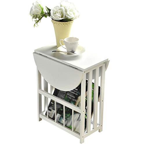 Mini Mesa de café Plegable Simple Balcón Sala de Estar Mesa Cuadrada pequeña Mesa de Cama Mesa de sofá Blanco