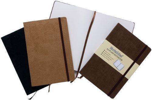 Libretas de notas con páginas en blanco de tamaño A5, efecto ante con elástico