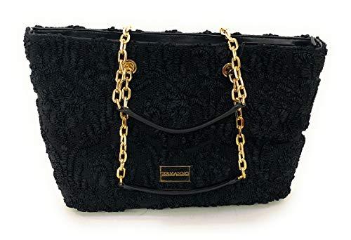 Ermanno Scervino Schultertasche mit doppelten Griffen. Stofftasche mit Ton-in-Ton-Aufdruck. Namensschild mit Logo, Schwarz Einheitsgröße