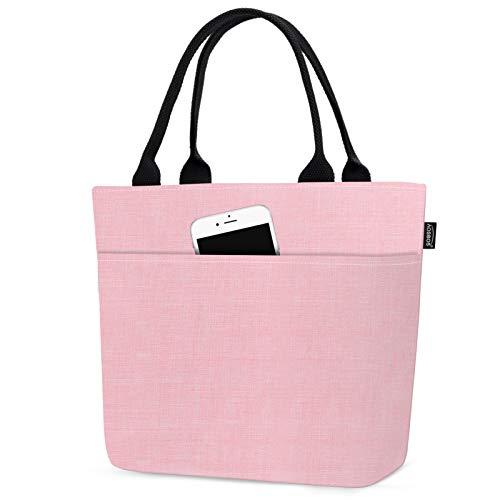 AOSBOS Sac Isotherme Repas pour Femme Sac-Déjeuner Grande Capacité Lunch Bag 10L pour Travail École Plage Pique-Nique, Rose