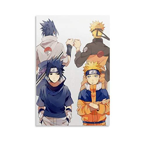 Póster artístico de Naruto y Sasuke Puño Bump y arte de pared, póster moderno para decoración de dormitorio familiar, 30 x 45 cm