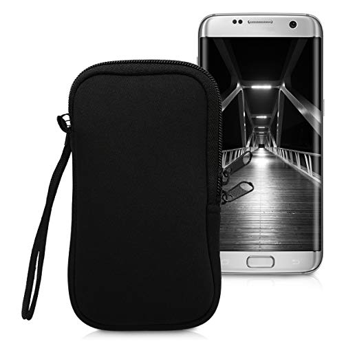 "kwmobile Neoprene Phone Pouch Size L - 6.5"" - Universal Cell Sleeve Mobile Bag with Zipper, Wrist Strap - Black Hawaii"