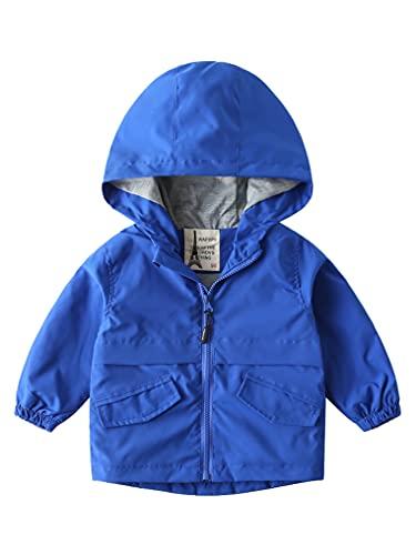 Kaerm Toddler Cute Cartoon Hoodies Baby Girls Boys Zip Up Hoodie Warm Coat Plaid Jacket Tops Blue 2 2-3 Years