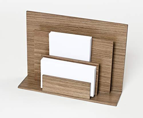 iWOODESIGN Soporte de madera de lujo para escritorio de 3 niveles, organizador de correo de escritorio organizador de escritorio de madera para oficina y hogar – nogal cálido