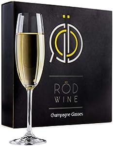 ROD Wine Juego de Copas de Champán - Copas de Boda en Cristal de Titanio sin Plomo, con una Taza Grande 220 ml Bodas, Fiestas y Ocasiones Especiales - la Idea Perfecta para un Regalo - Juego de