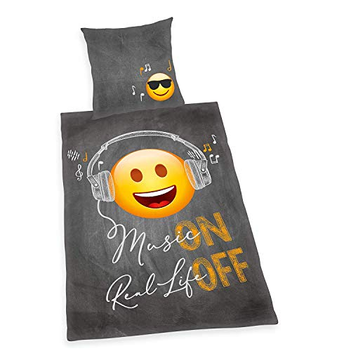 Emotix Emot!x Music Real Life ON Off - Juego de cama (funda nórdica de 135 x 200 cm, funda de almohada de 80 x 80 cm), diseño de emoticonos