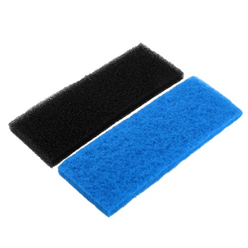 sourcing map Sourcingmap® para Acuario de Agua Dulce Filtro de Esponja Bloque Negro Azul del cojín de 32cm x 12cm x 2cm 2pcs