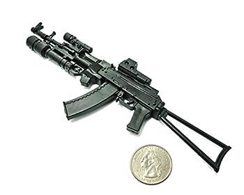 1/6 Scale AK74 Assault Rifle Tactical Gun w/ Grenade Launcher Fit for 12  Action Figure  Mini Toy Gun 6  Long