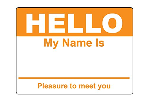 Orange Hello My Name is Name Badge Tag Labels Stickers - 1 Roll