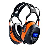 Safety Ear Muffs with Bluetooth Radio, Industry Hearing Protection Ear Muffs, Lawn Mowing Headphones, Wireless Noise Cancelling, NRR 29dB Earmuffs Ear Protector with Built-in Mic, LCD Display