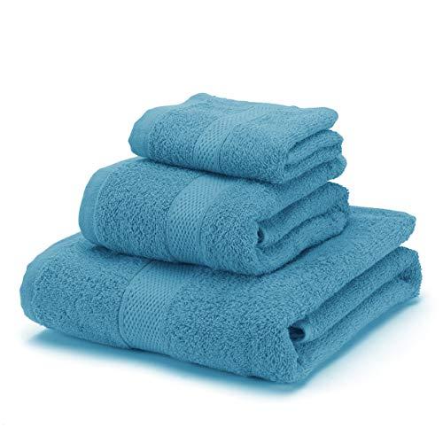 BONCASA - Juego de Toallas - 100% Algodón Peinado (no regenerado) - Calidad Ring Spun - Taco Suave - 450 gr/m2 (Azul Turquesa, Set 3 Piezas)