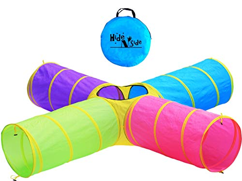 Hide N Side Kids Play Tunnels, Indoor Outdoor Crawl Through Tunnel for Kids Dog Toddler Babies Children , Pop up Tunnel Gift Toy